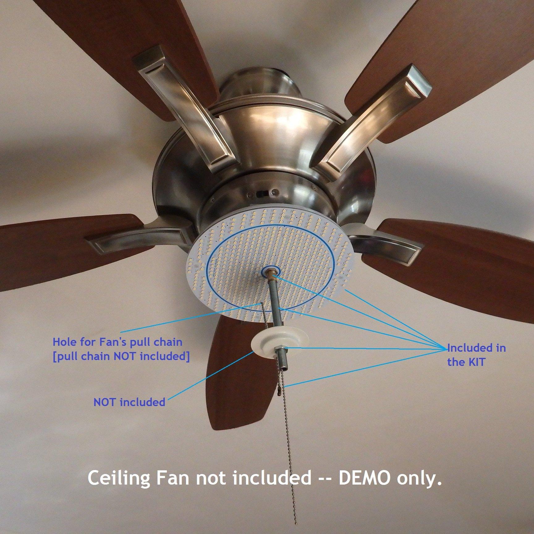 Our BRIGHTEST 8'' Diameter WARM WHITE (4000K) LED Panel for Ceiling Fan Light -- 6000Lumens//24Watts/120Vac. P/N: SPTL180LR+SPTL420LMC-4K