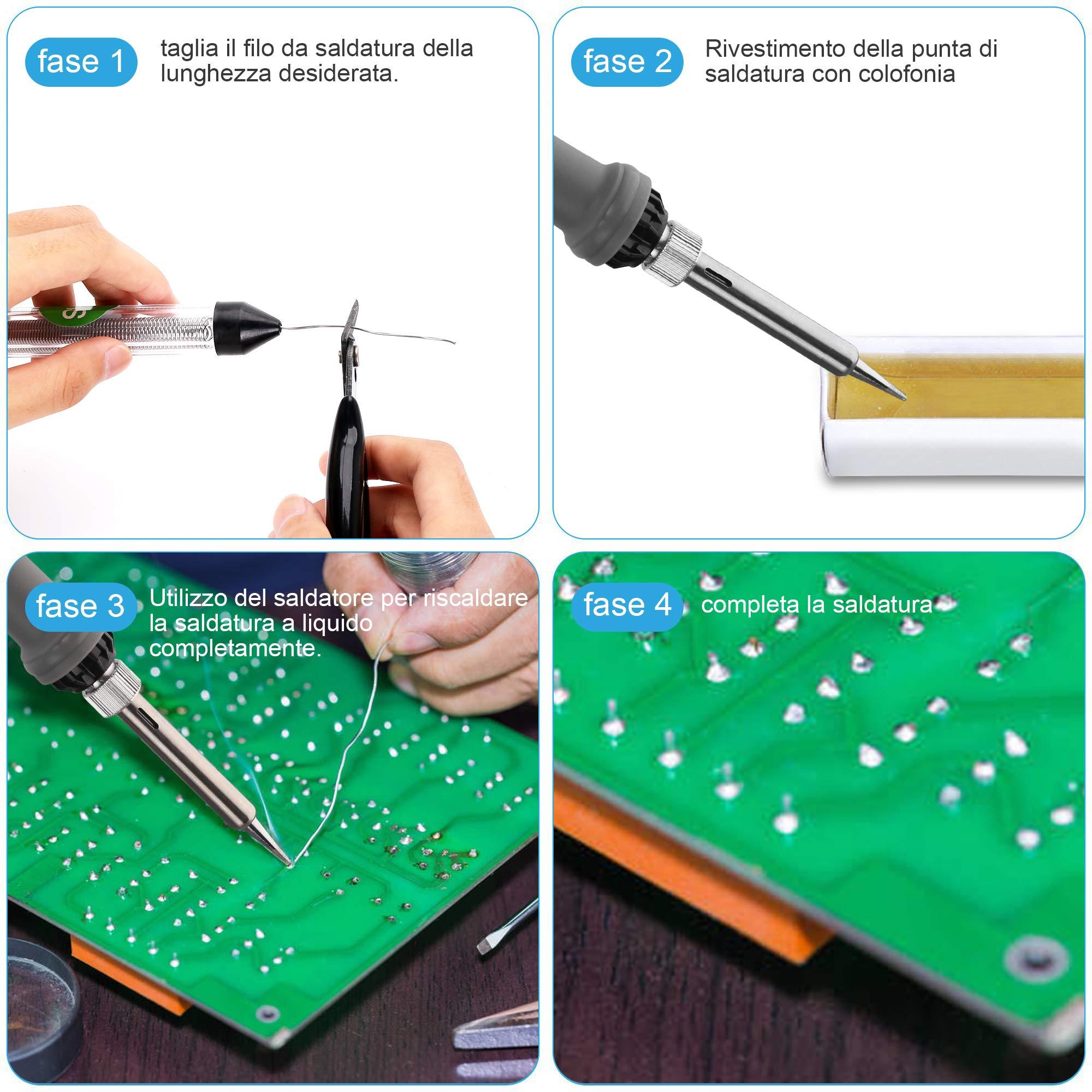 Gocheer 16 in 1 kit mini saldatore elettrico a stagno 60 W professionale saldatura stagno di precisione micro saldatrice a stagno elettronica,Temperatura Regolabile200℃〜450℃