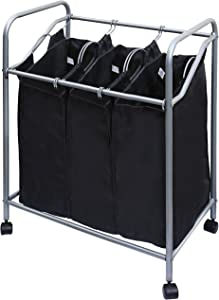 YBM HOME 3-Bag Laundry Sorter Cart, Heavy Duty Hamper for Sorting Laundry, (30 x 19 x 31.75 Chrome/Black)