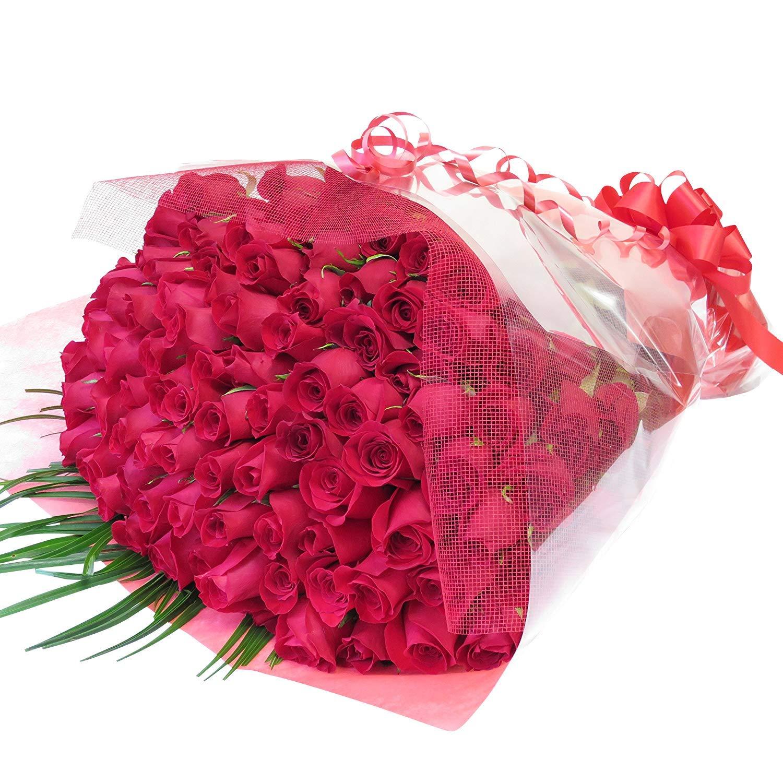 100本バラ 花束 バラの花束 誕生日プレゼント 花 母 女性 赤バラ100本 花束をギフトボックスに入れてお届けします (最短でお届け) B00M1B0ZVK 最短でお届け