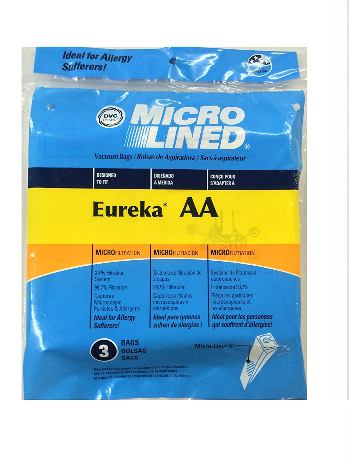 Home Care Eureka Style AA Micro Lined Paper Bags, 3 Pack