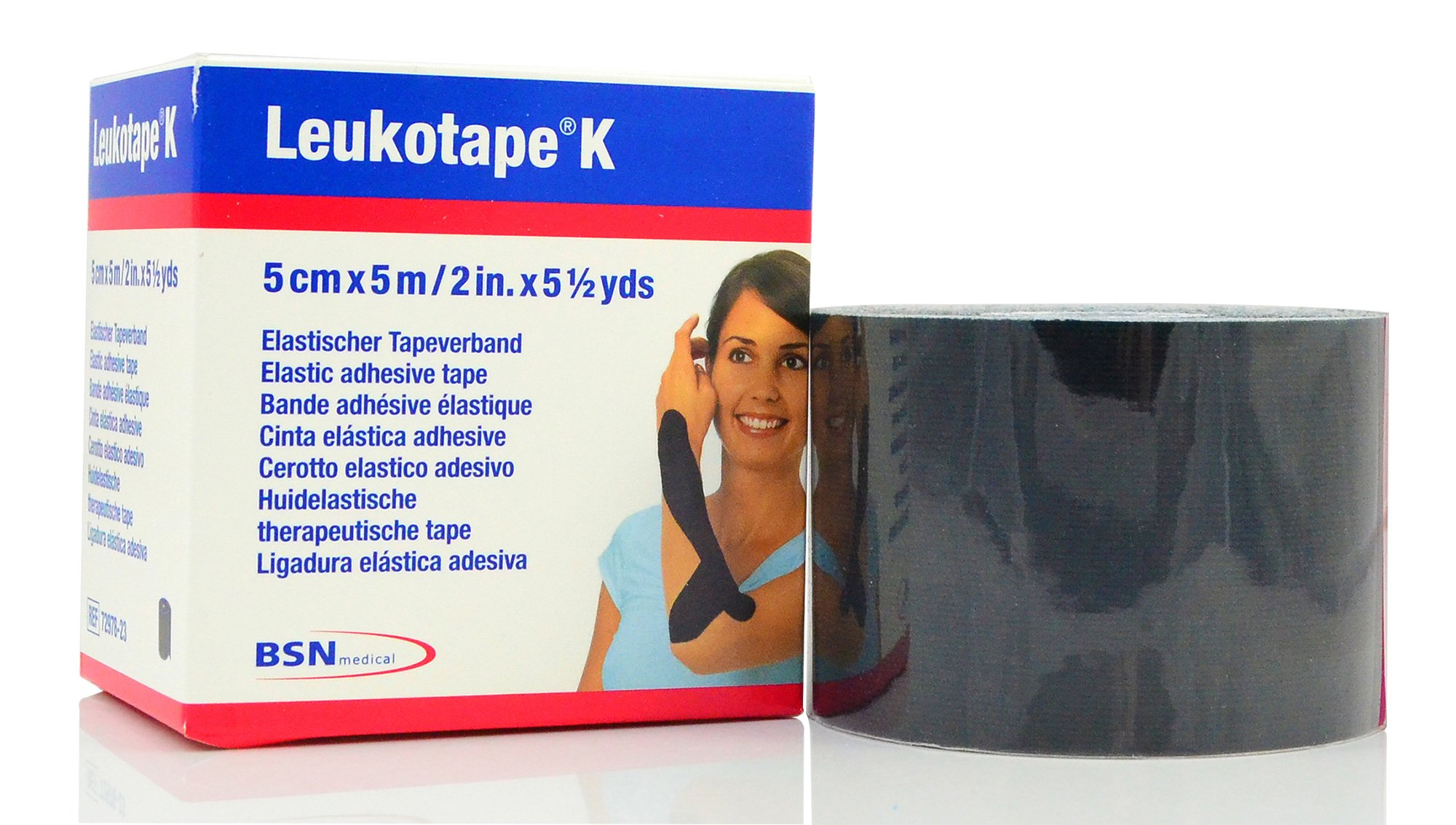 Leukotape K - Therapeutic Kinesiology Tape - 2'' x 5.4 Yard Roll Black