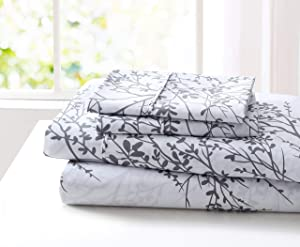 SL SPIRIT LINEN HOME EST. 1988 Foliage Collection Bed Sheet Set- Ultra Soft, Lightweight & Breathable Fabrics, Double Brushed Microfiber for Added Softness, Twin, White Grey