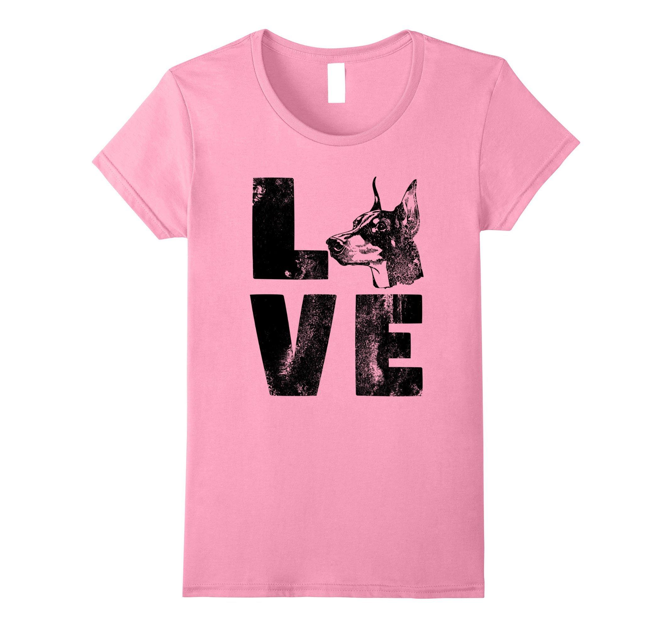 Womens Dog Shirt Love Doberman Pinscher Shirt Dog Lovers Shirt K9 Large Pink