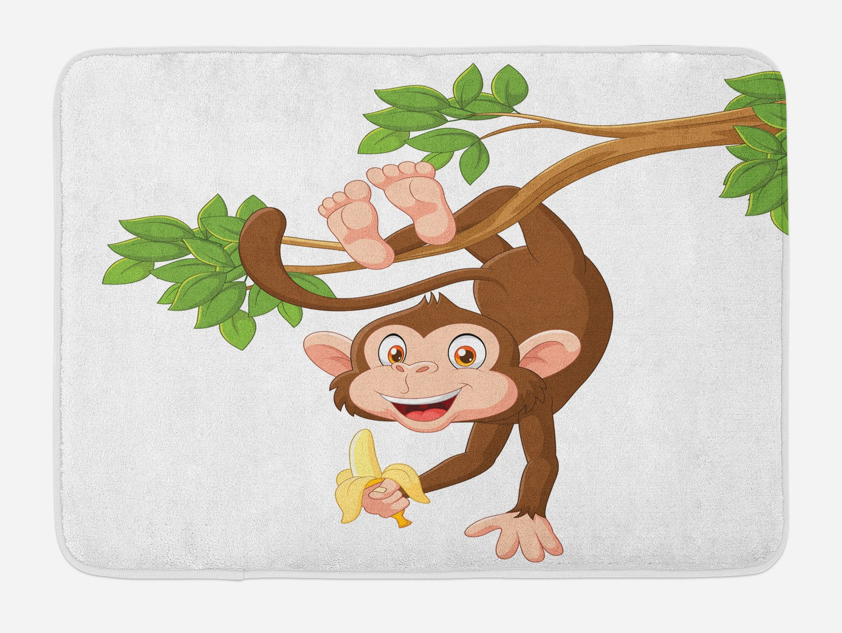 Ambesonne Cartoon Bath Mat, Funny Monkey Hanging from Tree and Holding Banana Jungle Animals Theme Print, Plush Bathroom Decor Mat with Non Slip Backing, 29.5 W X 17.5 W Inches, Chocolate White