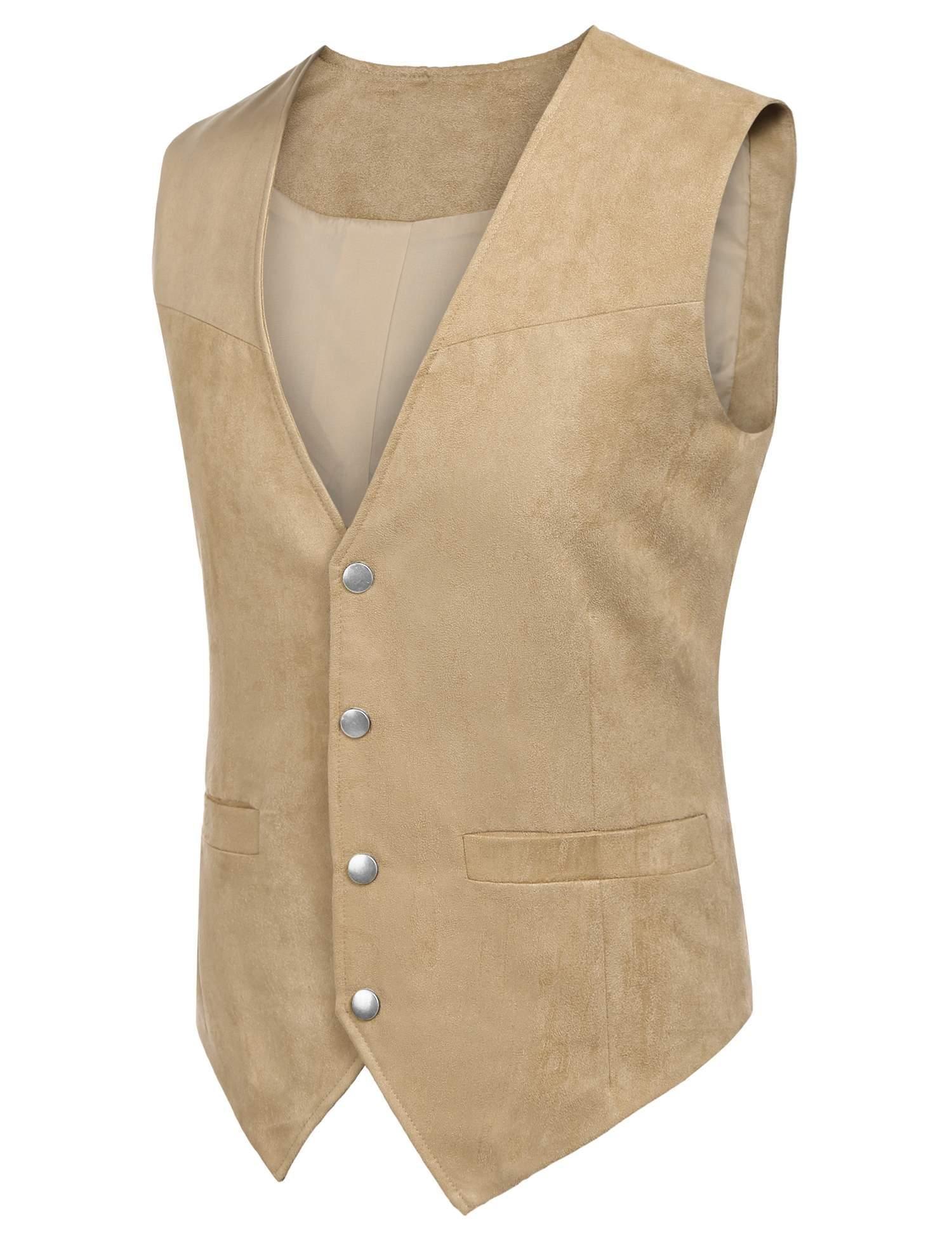 Edited Mens Faux Suede Vest Dress Suit Vest Formal Waistcoat for Wedding