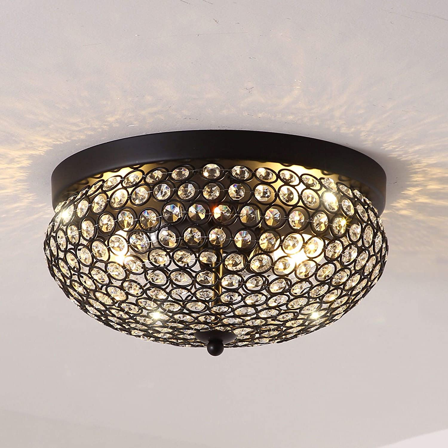 Tayanuc Black Crystal Flush Mount Ceiling Light with 2 Lights, Modern Crystal Chandelier Ceiling Fixtures for Hallway Dining Room Bedroom Kitchen with Sparkling Crystal Shade