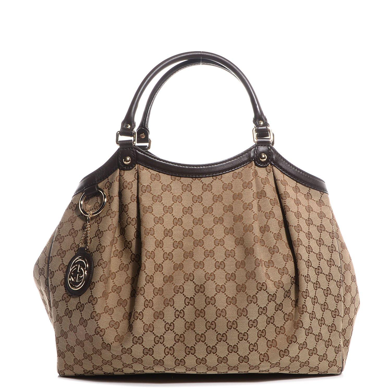 57162a8e7fd Gucci 364840 Sukey Handbag Large Brown Original GG Monogram Canvas Leather Guccissima  Purse Bag  Amazon.ca  Shoes   Handbags