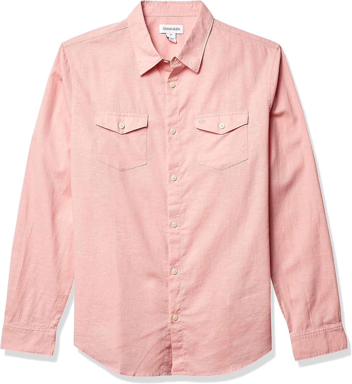 Calvin Klein Camisa de manga larga ligera de algodón y lino con botones para hombre - Rojo - XX-Large: Amazon.es: Ropa y accesorios