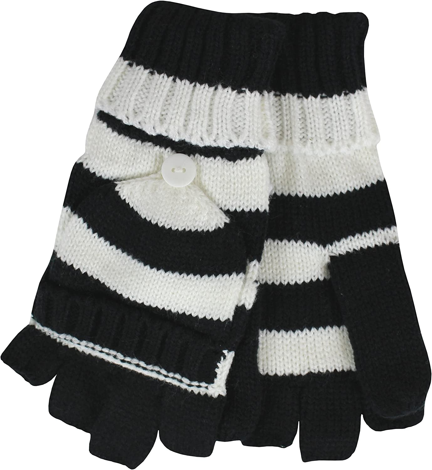 Ladies Winter Thermal Knit Magic 2 in 1 Combo Fingerless Gloves /& Mittens