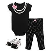 Hudson Baby Bodysuit, Bottom and Shoe Set, Pearls, 3-6 Months