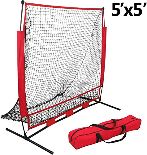 HomGarden 5 x 5 Portable Baseball Softball Practice Net Duable Hitting Batting Tossing Pitching Catching Throwing Training Net w Carry Bag,Bow Net Frame Rubber Feet