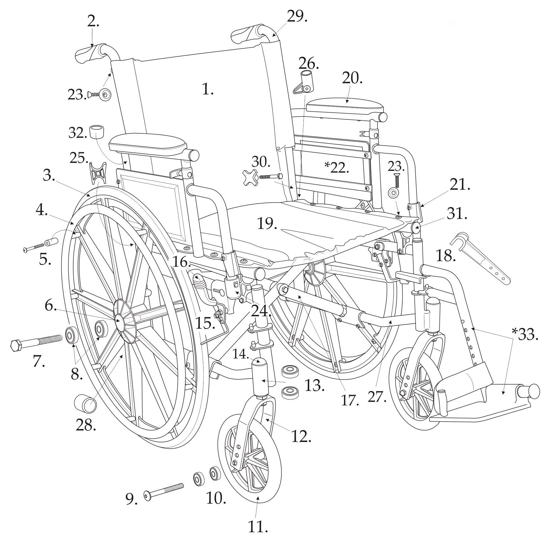 Drive Parts for Cirrus IV Wheelchairs - Serial # 5D - 11. Front Wheel - Each