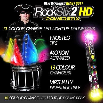 Rockstix2 13 Colour Change Fx Light Up Drumsticks Amazon Co Uk Musical Instruments