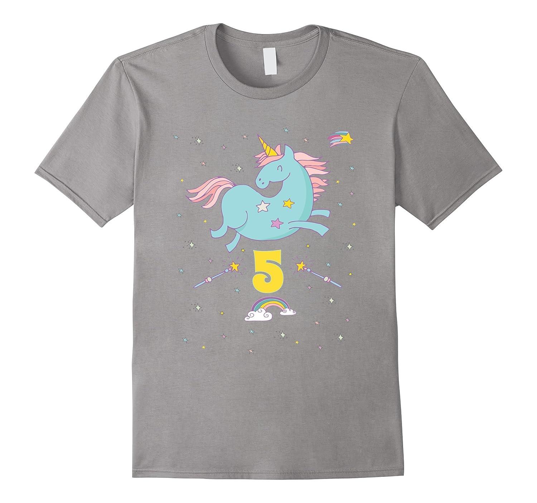Unicorn Rainbow Birthday Shirt 5 Five Year Old Girl Boy PJ TD