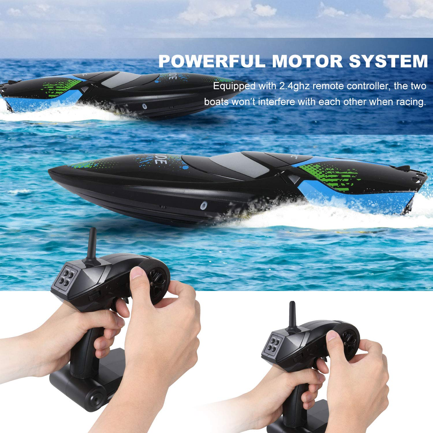 ANTAPRCIS 25km/h RC Boat, 2.4GHz 180° Flip Remote Control Race Boat for Pool Lake Boy Adult, Black by ANTAPRCIS (Image #5)
