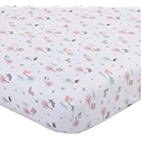 Carter's Woodland Meadow Forest/Deer/Owl 100% Cotton Fitted Crib Sheet/Pink/Aqua/White