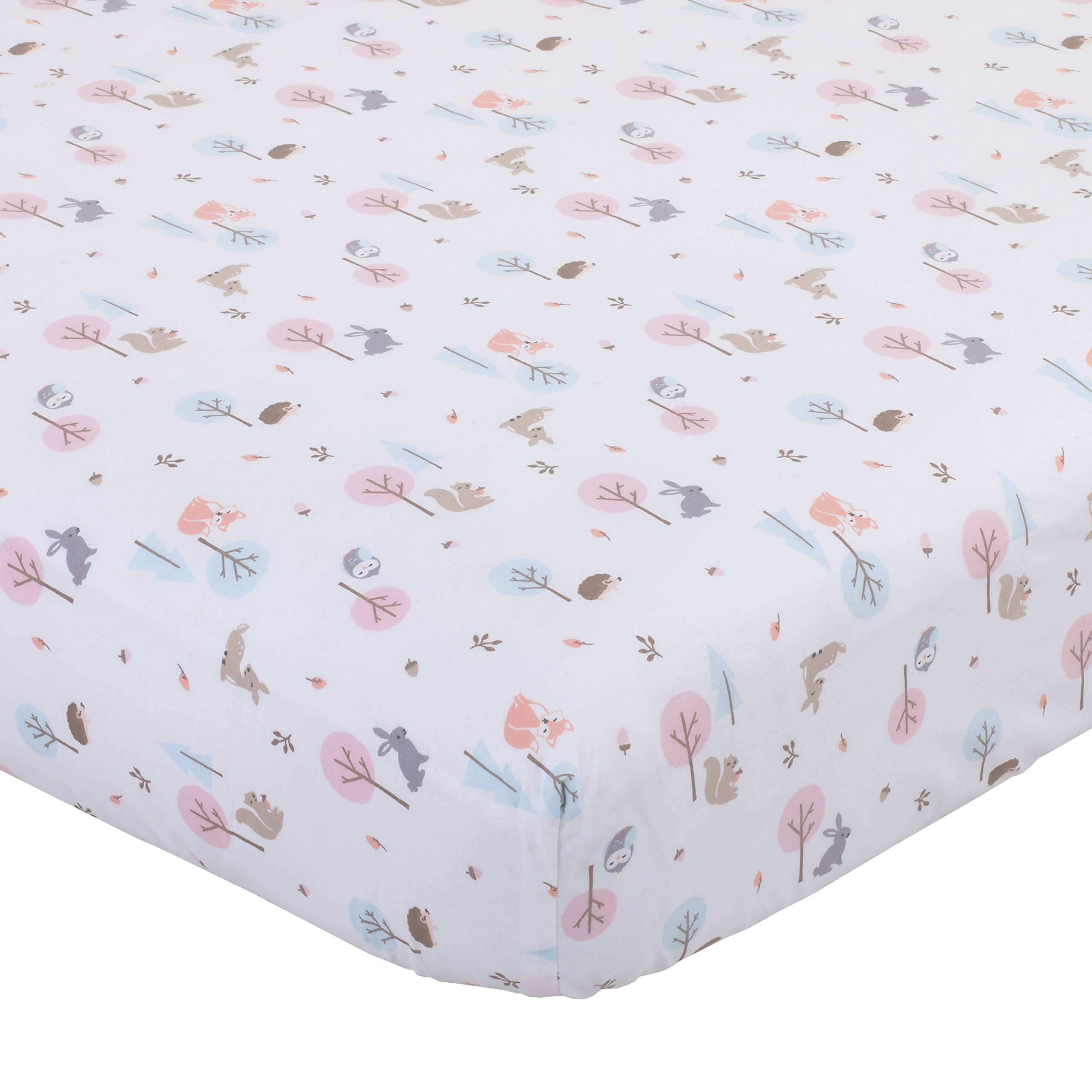 Carters Woodland Meadow Forest/Deer/Owl 100% Cotton Fitted Crib Sheet, Pink