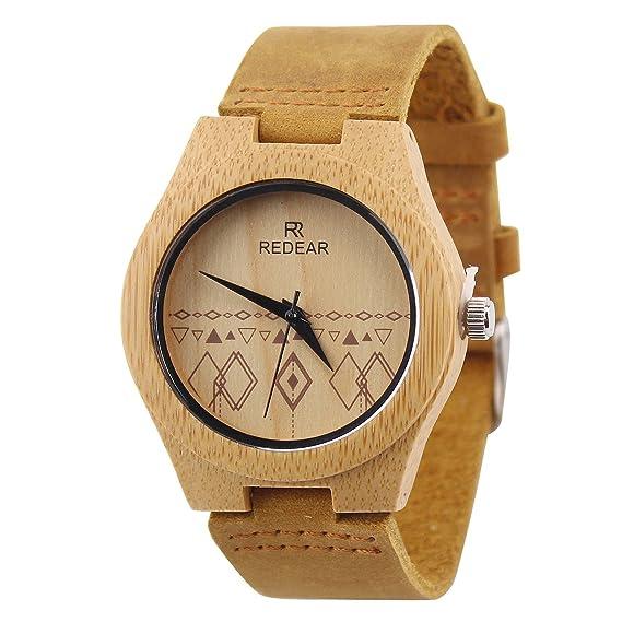 Madera reloj madera natural de Cuarzo Reloj de pulsera para mujer: Amazon.es: Relojes