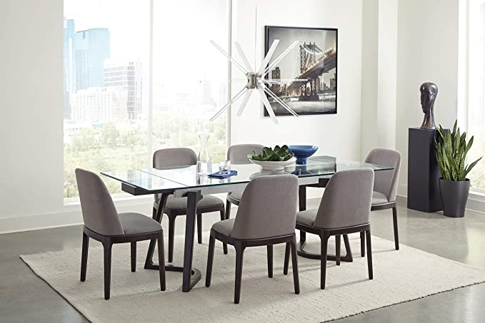 Coaster Home Furnishings Annapolis 5 Piece Glass Top Espresso And Grey Dining Set Table Chair Sets Amazon Com