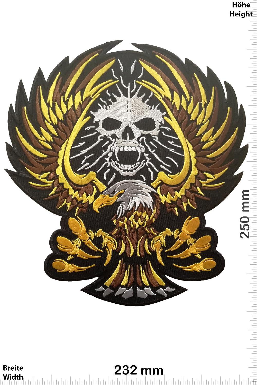 Eagle - Iron On Patches Bigpatch Skull Biker Patch-Iron-Adler BIG 25 cm Aufn/äher Embleme B/ügelbild Aufb/ügler