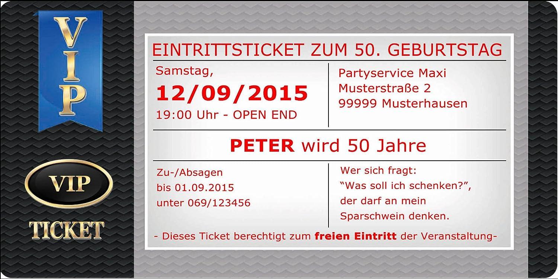 Einladungskarten als VIP Ticket Einladung Geburtstagseinladungen 30 30 30 40 50 63 B013TANFC2 | Sale  | Neuheit Spielzeug  | Spaß  431dad