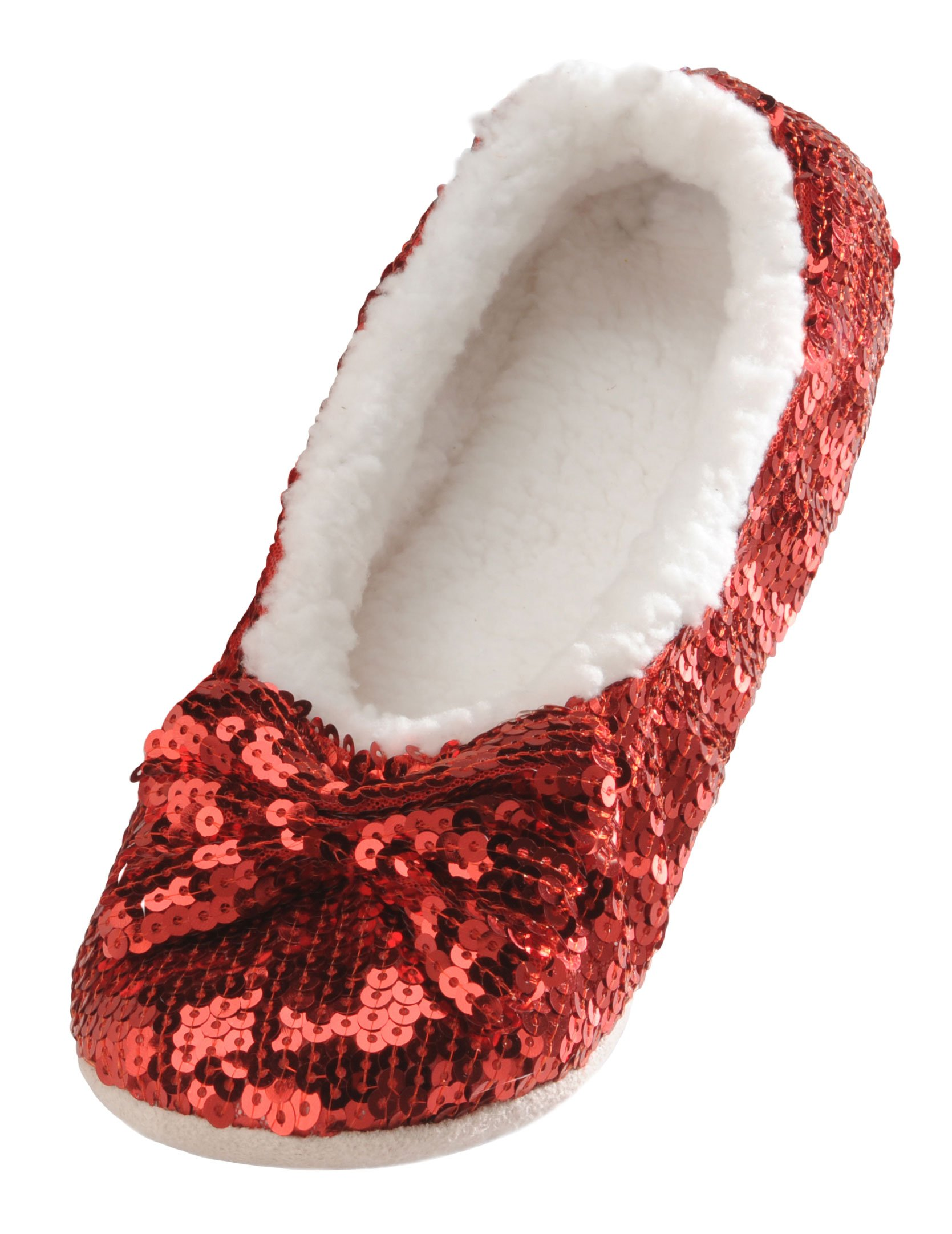 Snoozies Women's Ballerina Metallic Shine Red Sequin Slippers-Large (9-10)