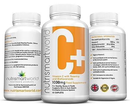 Vitamina C 1000mg - Con Bioflavonoides. Y Rosa Mosqueta Sistema Inmune, Piel, Encías