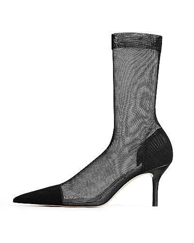 c3ac61e77 Amazon.com: Zara Women Mesh Sock-Style Heeled Ankle Boots 1175/001 ...
