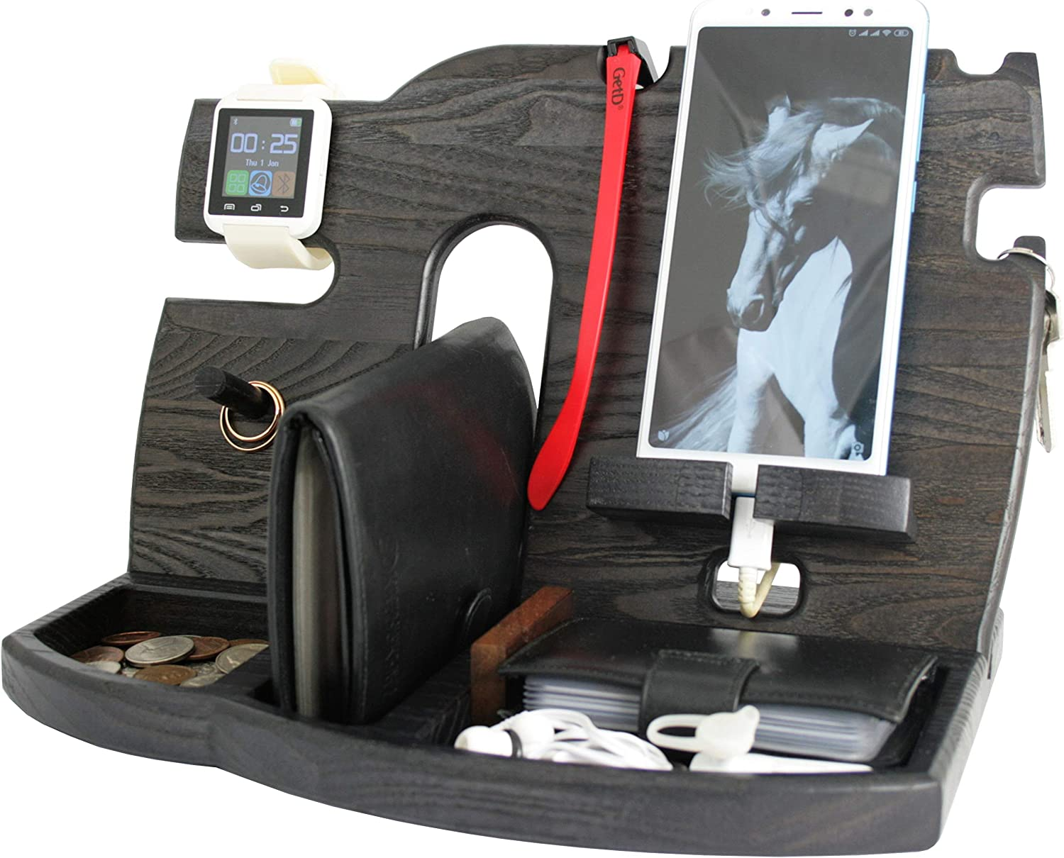 Wood Cell Phone Stand Smartwatch Wallet Holder. Man Cave Decor Multiple Gadget Dock Mobile Accessory Organizer. Nightstand Charging Docking Station ...