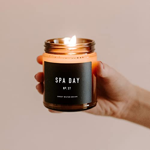 Made in the USA 40 Hour Burn Time 9oz Amber Glass Jar Jasmine and Wood Relaxing Scented Soy Wax Candle for Home Sea Salt Sweet Water Decor Spa Day Candle