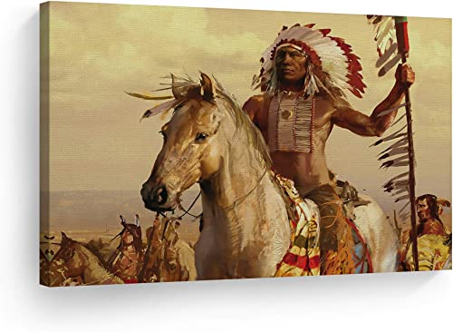 SmileArtDesign Indian Wall Art Native American Riding a White Horse Canvas Print Home Decor Decorative Artwork Living Room Bedroom Office Wall Decor Ready to Hang Made