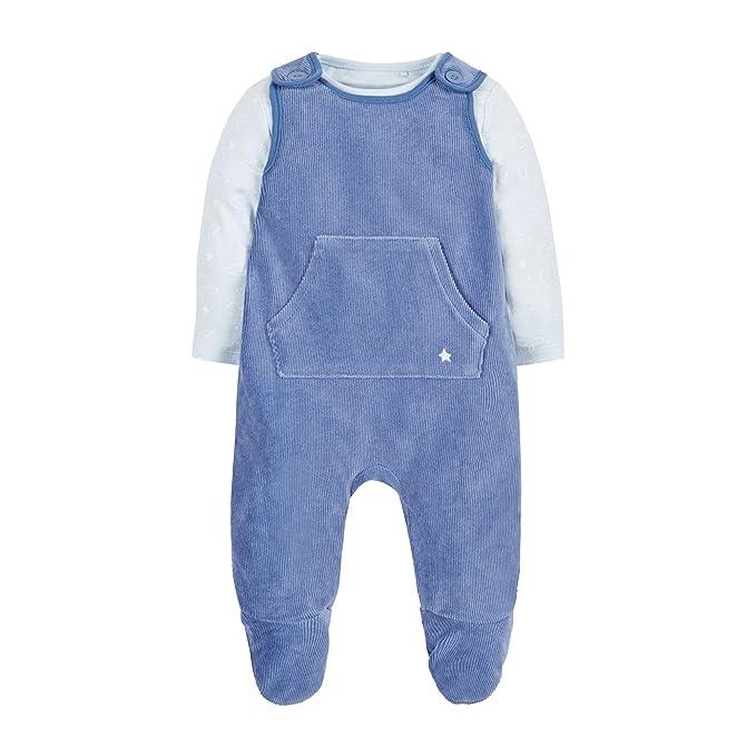 Mothercare Velour Dungaree, Pijama de una Pieza Unisex bebé, Azul (Blue 128)