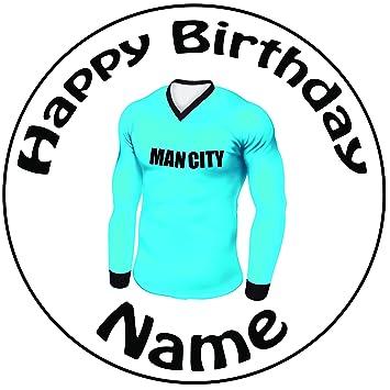 Personalizada de Manchester City Camiseta de fútbol decoración para tarta para – una precortado redondo 8