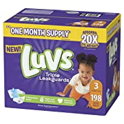 Diapers Size 3, Luvs Ultra Leakguards Disposable Baby Diapers, ONE MONTH SUPPLY (Packaging May Vary), 198 Count