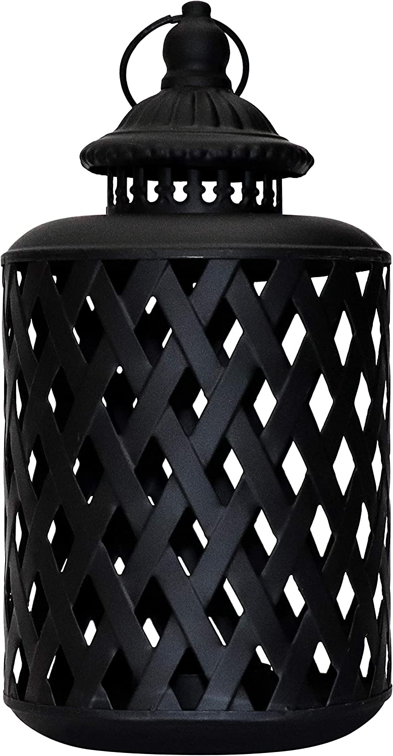 MISIXILE Metal Decorative Candle Lanterns Farmhouse Rustic Candle Holders Vintage Hanging Lantern for Wedding, Patio Parties, Indoor Outdoor Garden Party Decor Valentine Gift(Black)