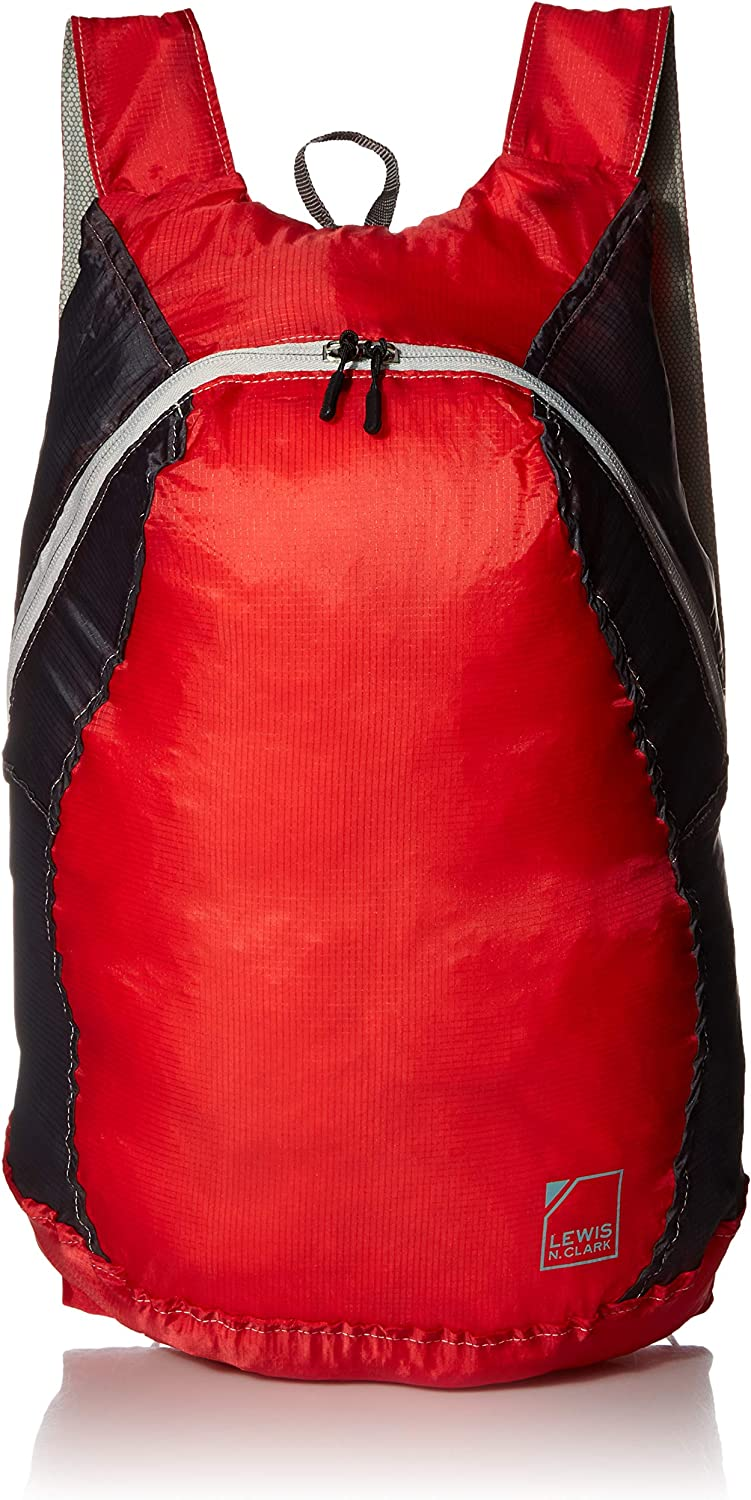 Lewis N. Clark Women's Packable Daypack, Hiking Camping Backpack, Ditty Bag, Red/Charcoal, One Size