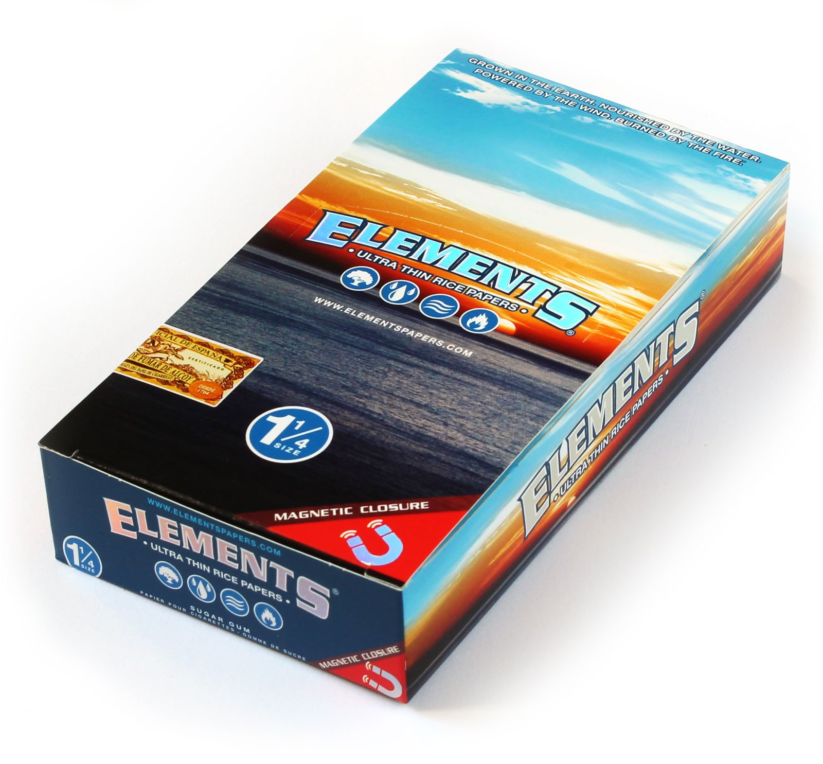 Elements 1.25 1 1/4 Size Ultra Thin Rice Rolling Paper With Magnetic Closure Full Box Of 25 by ELEMENTS