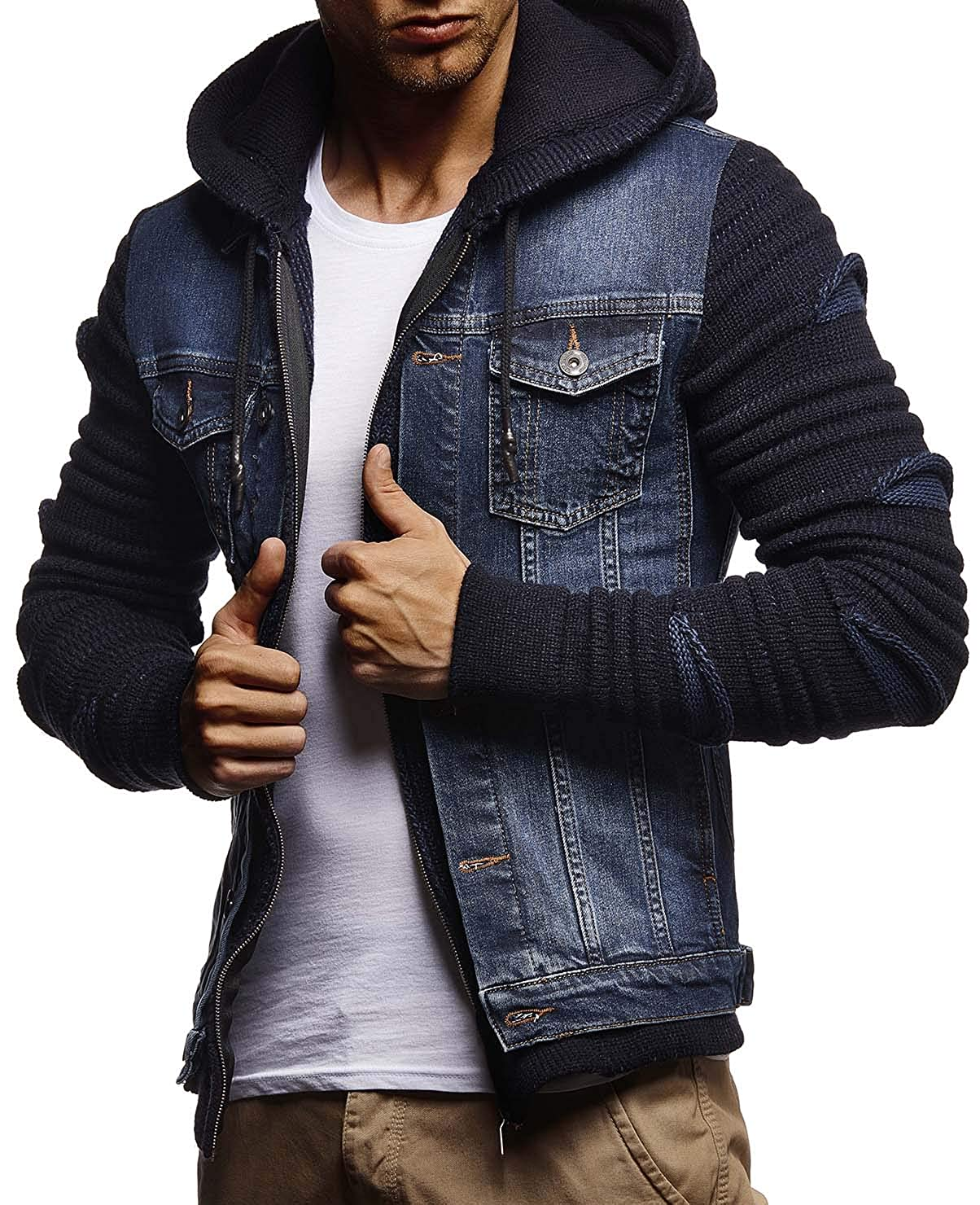 LEIF NELSON Mens Denim Jacket With Knitted Sleeves Jeans Jacket With Hood Stylish Jeans Sweater Hoodie LN5755