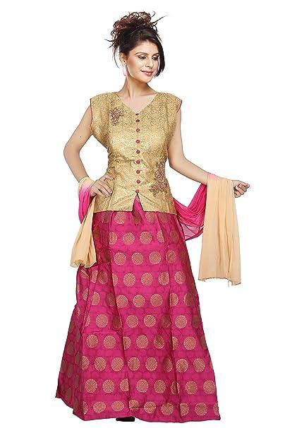 5219f613135d GUN GUN Women's Bhagalpuri Silk Crop Top Salwar Kameez (GGN211, Biscuit  Pink, Large): Amazon.in: Clothing & Accessories
