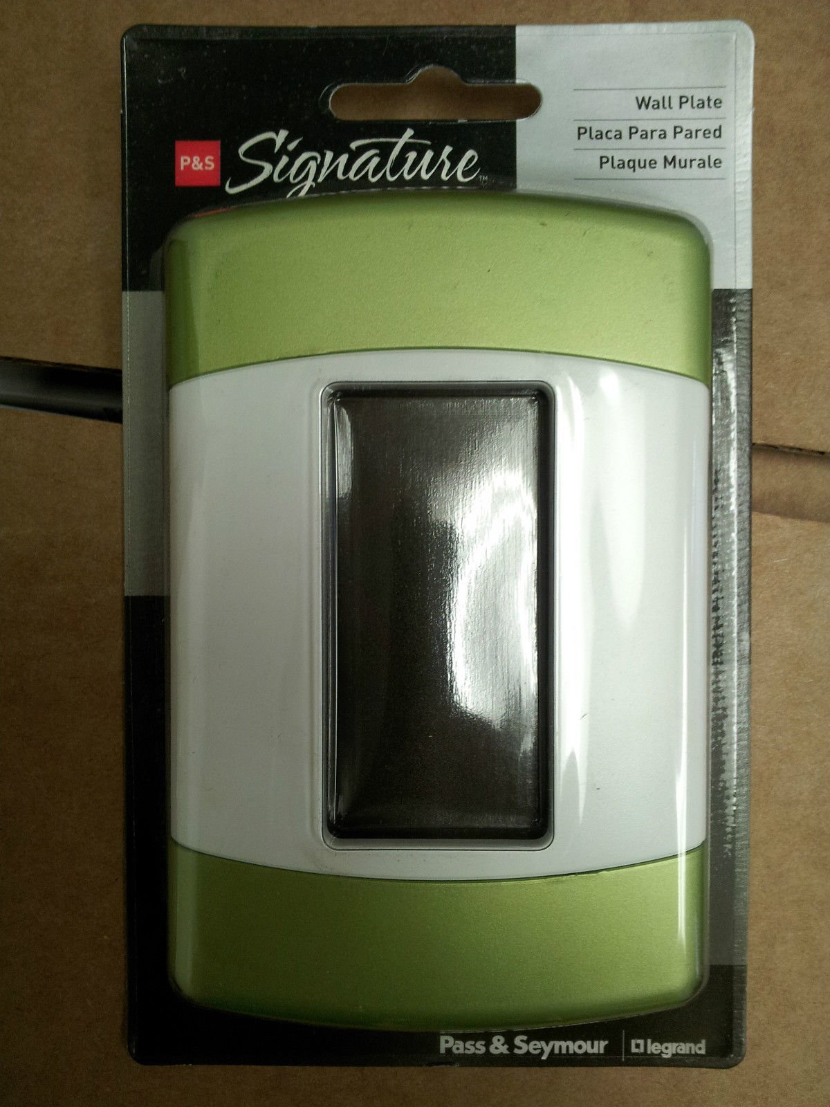 (10) P&S Signature Series Curved Style Wall Plate 1-Gang Decora White/Green Tea