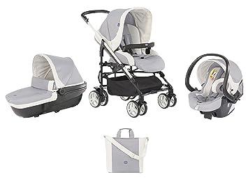 Chicco Trio My City Grey - Sistema de paseo y viaje 3 en 1, capazo/carrito/coche, grupo 0+, colección 2017, color gris