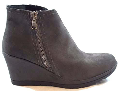 Keys Flex & fly Zapatos Mujer Bota Botines cuña cm 7 Boot Cremallera Nubuk 7863 PIOMBO