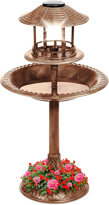 Best Choice Products Solar Outdoor Bird Bath Vintage Resin Pedestal Fountain Decoration for Yard, Garden w/Planter Base, Feeder, Decorative Bird Cage, Fillable Stand - Bronze