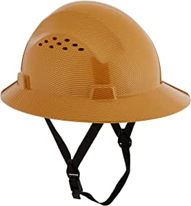 HDPE Natural Tan Full Brim Hard Hat with Fas-trac Suspension