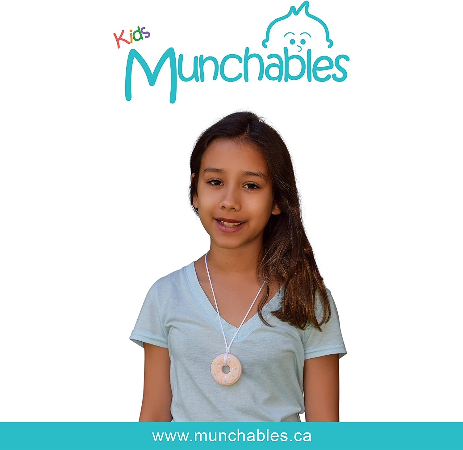 Donut Blue Sensory Oral Motor Aide Chewelry Necklace Chewy Jewelry for Sensory-Focused Kids with Autism or Special Needs