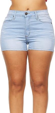 V.I.P. JEANS Damska Super Cute Jeans Shorts Acid Washed Jeansshorts, Sommerblau, 41: Odzież