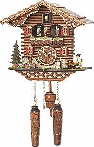 Trenkle Quartz Cuckoo Clock Swiss House with Music, Turning Dancers TU 4209 QMT HZZG