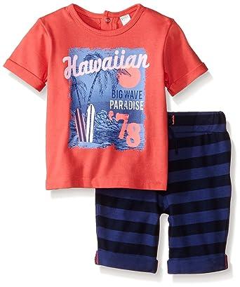 8fd159d87 Amazon.com: Petit Lem Baby Boys' 2 Piece Set Short Sleeve Top and Short- Coral: Clothing
