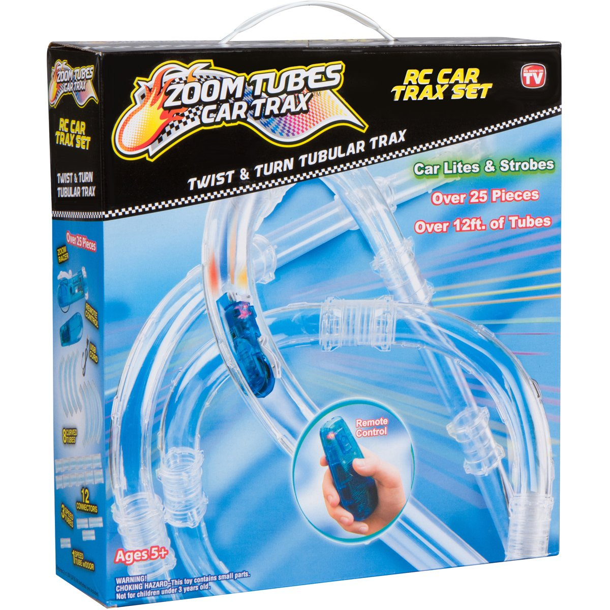 ZOOM TUBES CAR TRAX, 25-Pc RC Car Trax Set with 1 Blue Racer and Over 12ft of Tubes (As Seen on TV)